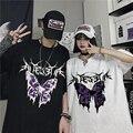 Футболка в стиле «панк» Безразмерные бабочки Harajuku темно Топы мужской моды Swag эстетическое унисекс в стиле «хип-хоп» готические футболки ...
