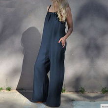Plus Size Women Jumpsuits Casual Loose Wide Leg Rompers Sash Backless Overalls Solid Summer Bodysuit