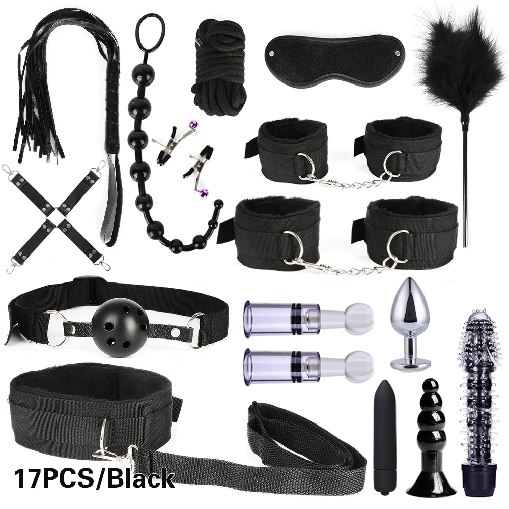 10/13/15/17 PCS Bondage Restraints Kits BDSM Sex Handcuffs Whip Anal Plug Bullet Vibrator Erotic Sex Toy For Couples Adult Games