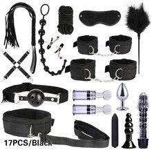 10/13/15/17 pces bondage restrições kits bdsm sexo algemas chicote anal plug bala vibrador erótico brinquedo do sexo para casais adultos jogos