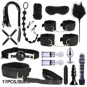 10/13/15/17 PCS Bondage Restraints Kits BDSM Sex Handcuffs Whip Anal Plug Bullet Vibrator Erotic Sex Toy For Couples Adult Games(China)