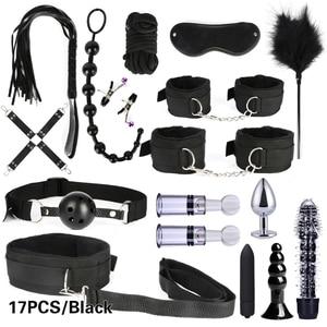 Kit de Bondage para parejas y adultos Kit de esposas sexuales BDSM de retención, látigo, tapón Anal, vibrador de bala, juguete sexual erótico para parejas y adultos, 10/13/15/17 Uds.