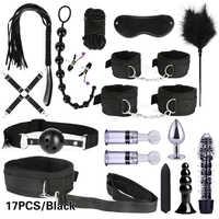 10/13/15/17 PCS Bondage Fesseln Kits BDSM Sex Handschellen Peitsche Anal Stecker Kugel Vibrator Erotische Sex Spielzeug für Paare Spiele Für Erwachsene