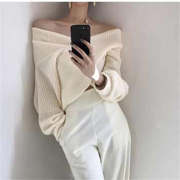 Ailegogo 2020 Autumn Winter Women Pullover V-neck Sexy Off Shoulder Sweater Knitted Stylish Casual Korean Female Jumpers SW3053 2