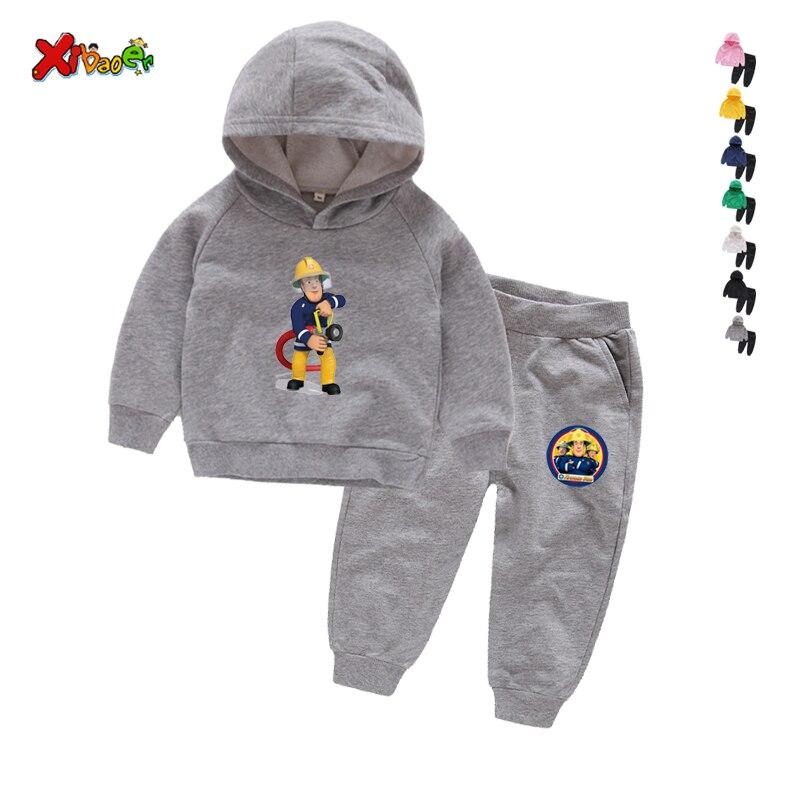Children Winter Clothes Baby Boys Cartoon Clothing Sets Fireman Sam Pattern Print Cartoons Sweatsets for Boys Girls Kids Clothes 1
