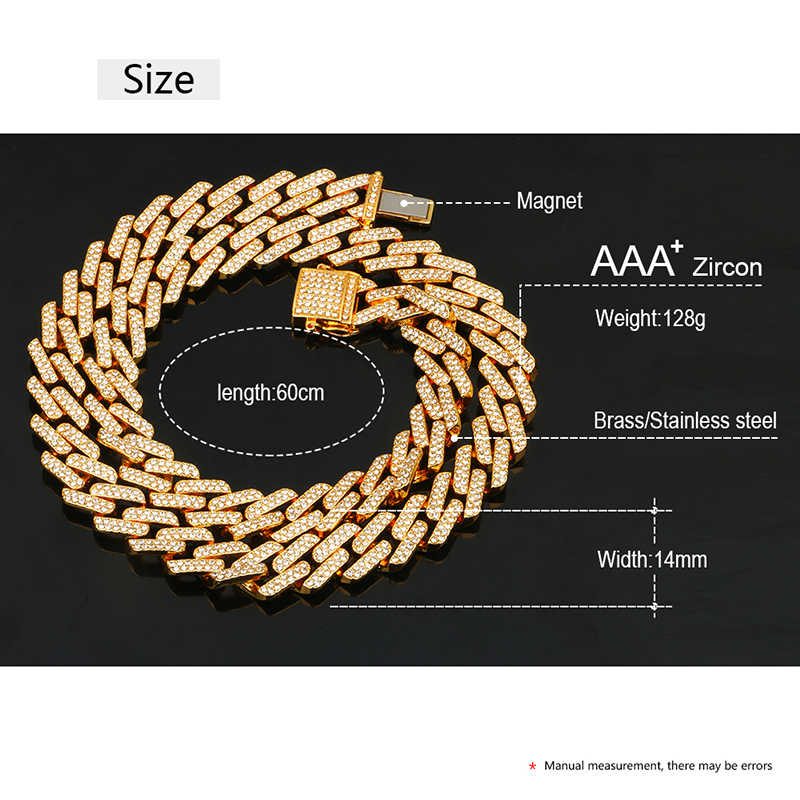 14 Mm Iced Out Miami Cubaanse Link Chain Hip Hop Mode Mannen Ketting Strass Bling Goud Zilver Jewlery 50/60/75/100 Cm Lange