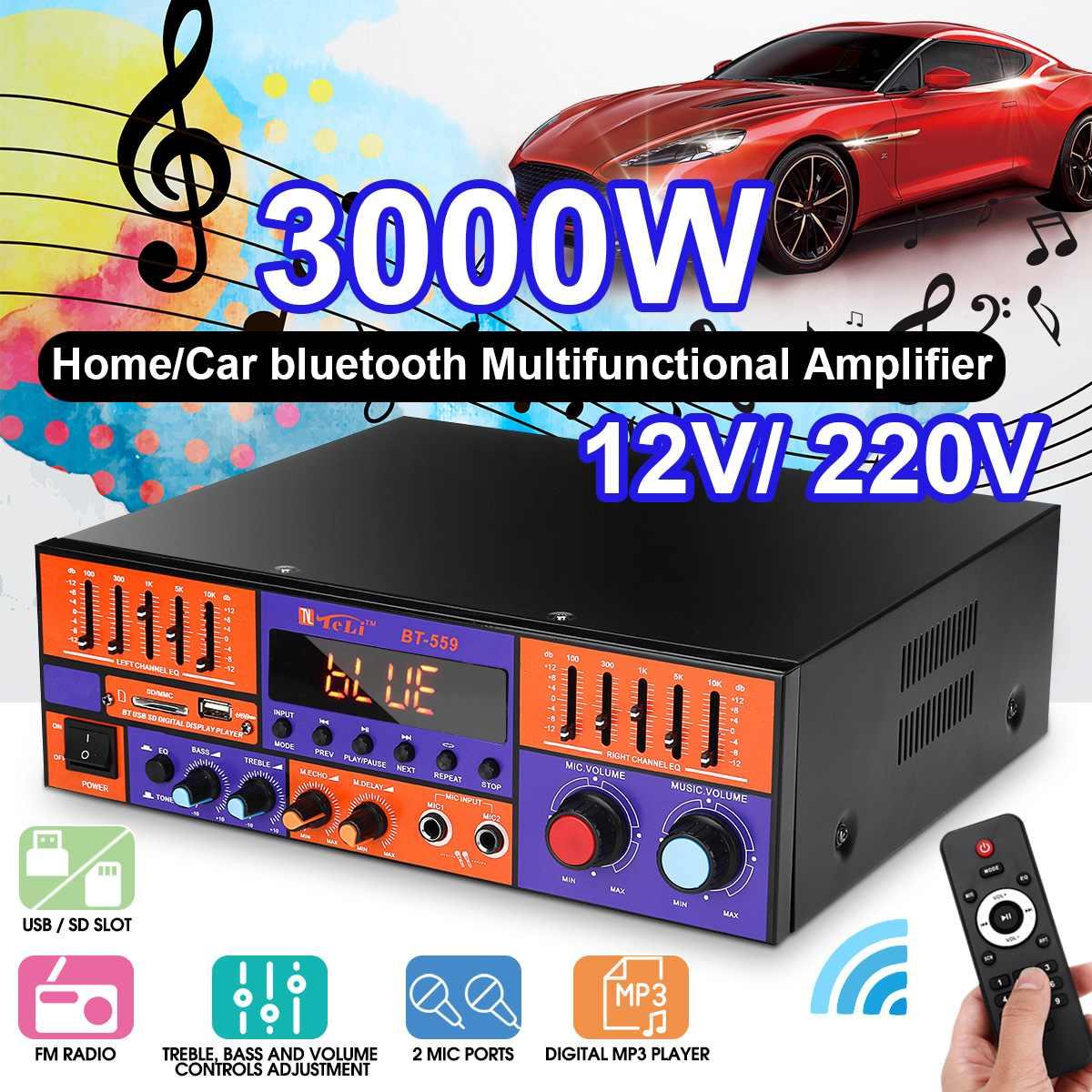 Bluetooth Audio Power Verstärker 3000W Auto Home Digitale HIFI Stereo Verstärker 2 Kanäle Verstärker USB FM SD mit Fernbedienung control