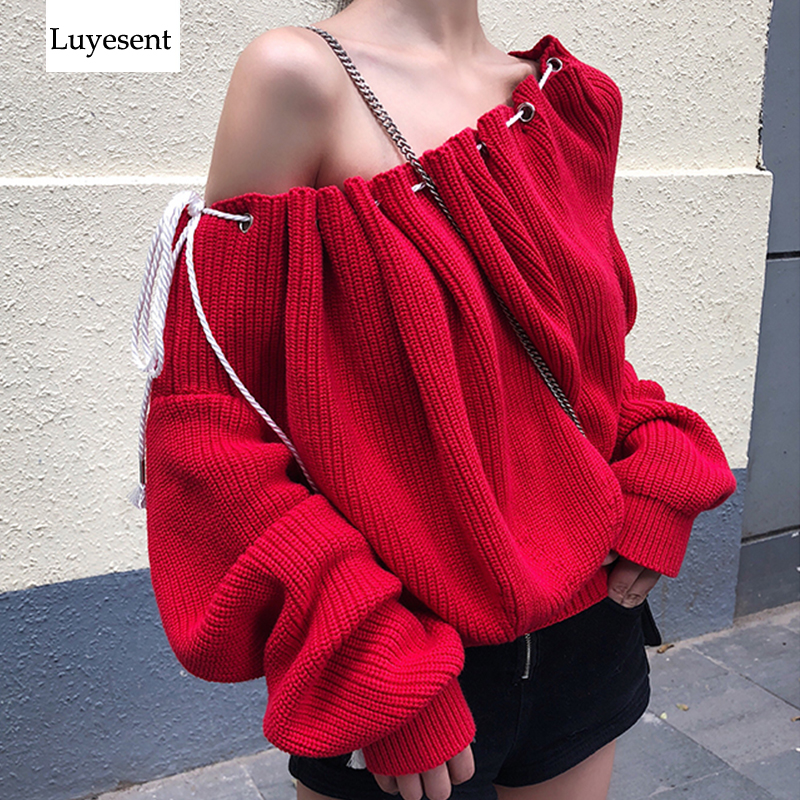 Christmas Red Shir Sexy Women Pullover Sweater 2019 Lady Slash Neck Drawstring Loose Knit Top Warm Retro Sweaters Ruched Jumpers