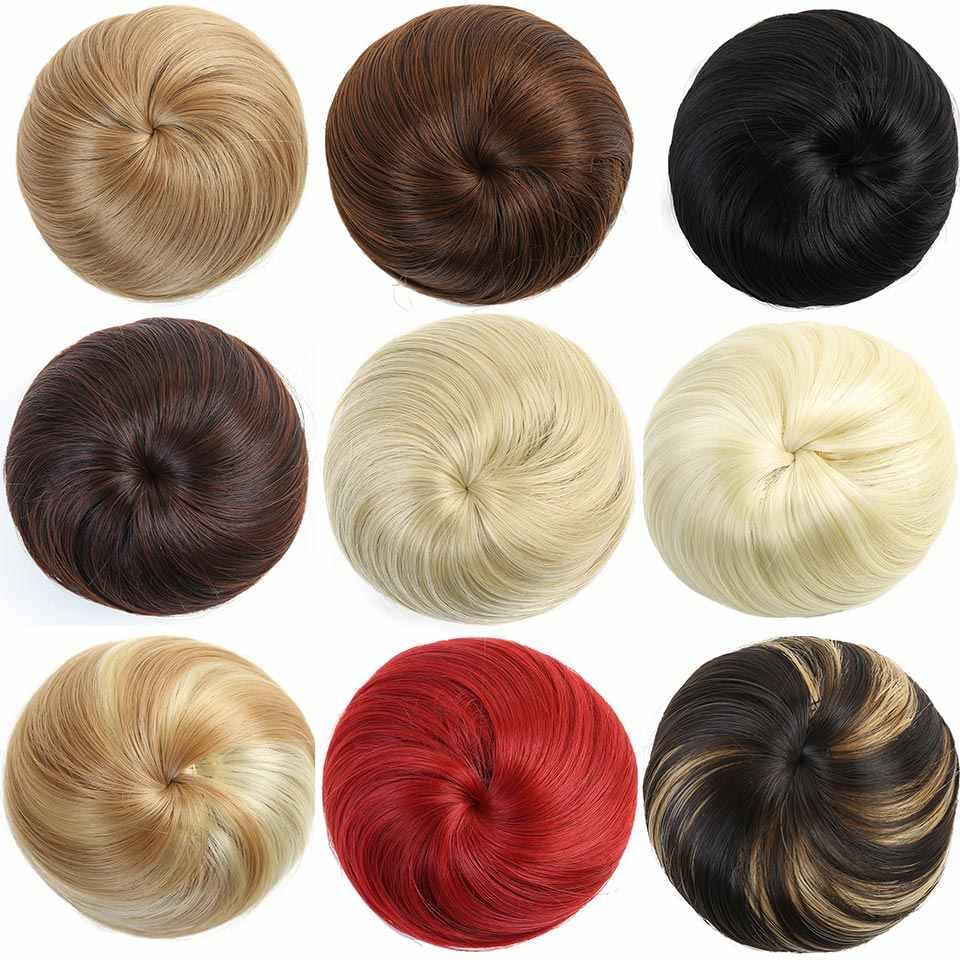 Allaosify10 colores disponibles bollo de pelo Chignon sintético Donut Roller piezas de pelo de fibra de alta temperatura para mujer