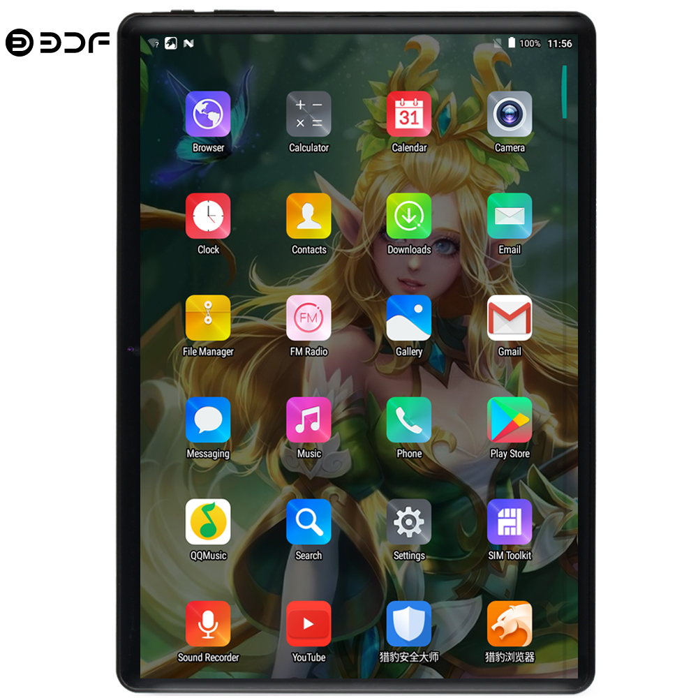 BDF New 10 Inch 4G Phone Call Tablets Android 9.0 Ten Core 8GB+128GB Tablet Pc 3G 4G LTE Dual SIM Card Google Bluetooth WiFi Tab