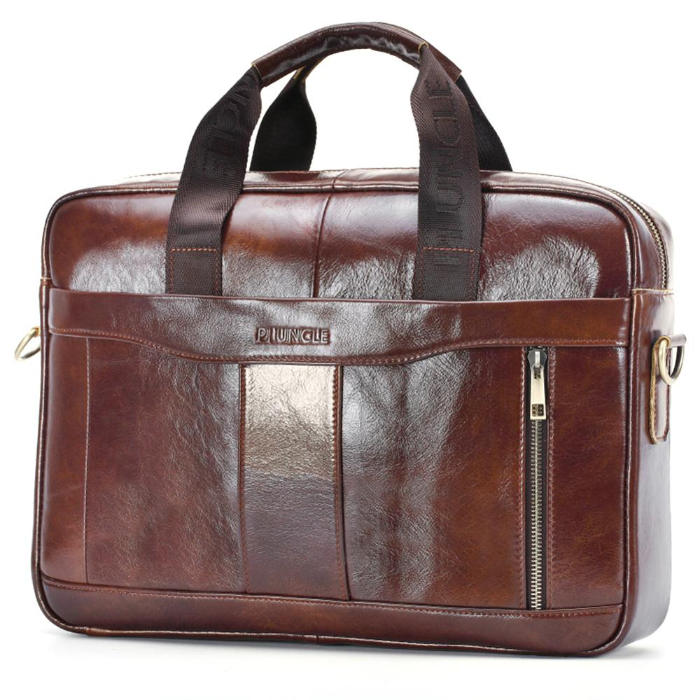 Fashion Men Briefcase Genuine Leather Bussiness Handbag Laptop Messenger Bag Shoulder Crossbody Bags For Male Office Hand Tote