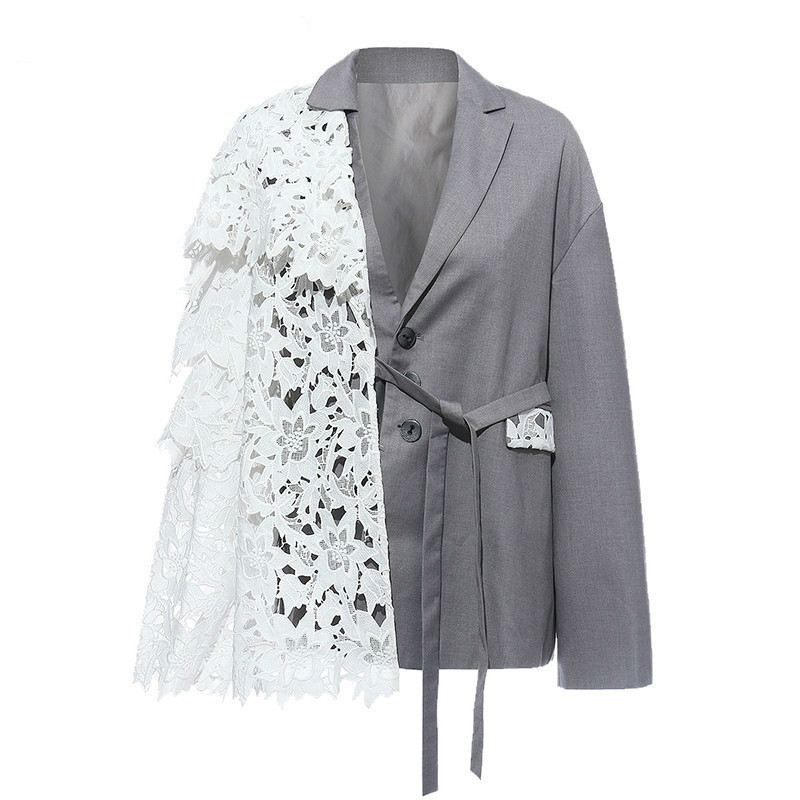 Women Gray Lace Bandage Split Joint Blazer New Lapel Long Sleeve Loose Fit  Jacket Fashion Tide Spring Autumn 2020 V530