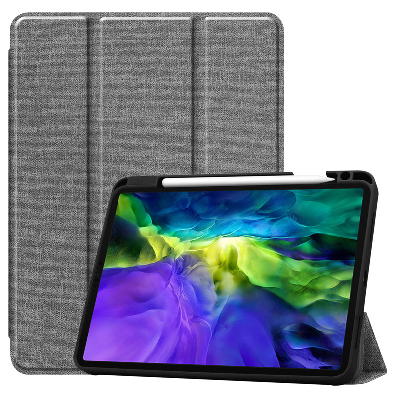 Gray Blue Funda For iPad Pro 11 2020 Case With Pencil Holder Smart Cloth Textured Stand TPU Soft