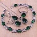 Risenj mesmo estilo pulseira 4 pçs cor prata traje conjunto de jóias pedra verde pingente/colar/brincos/anéis conjunto