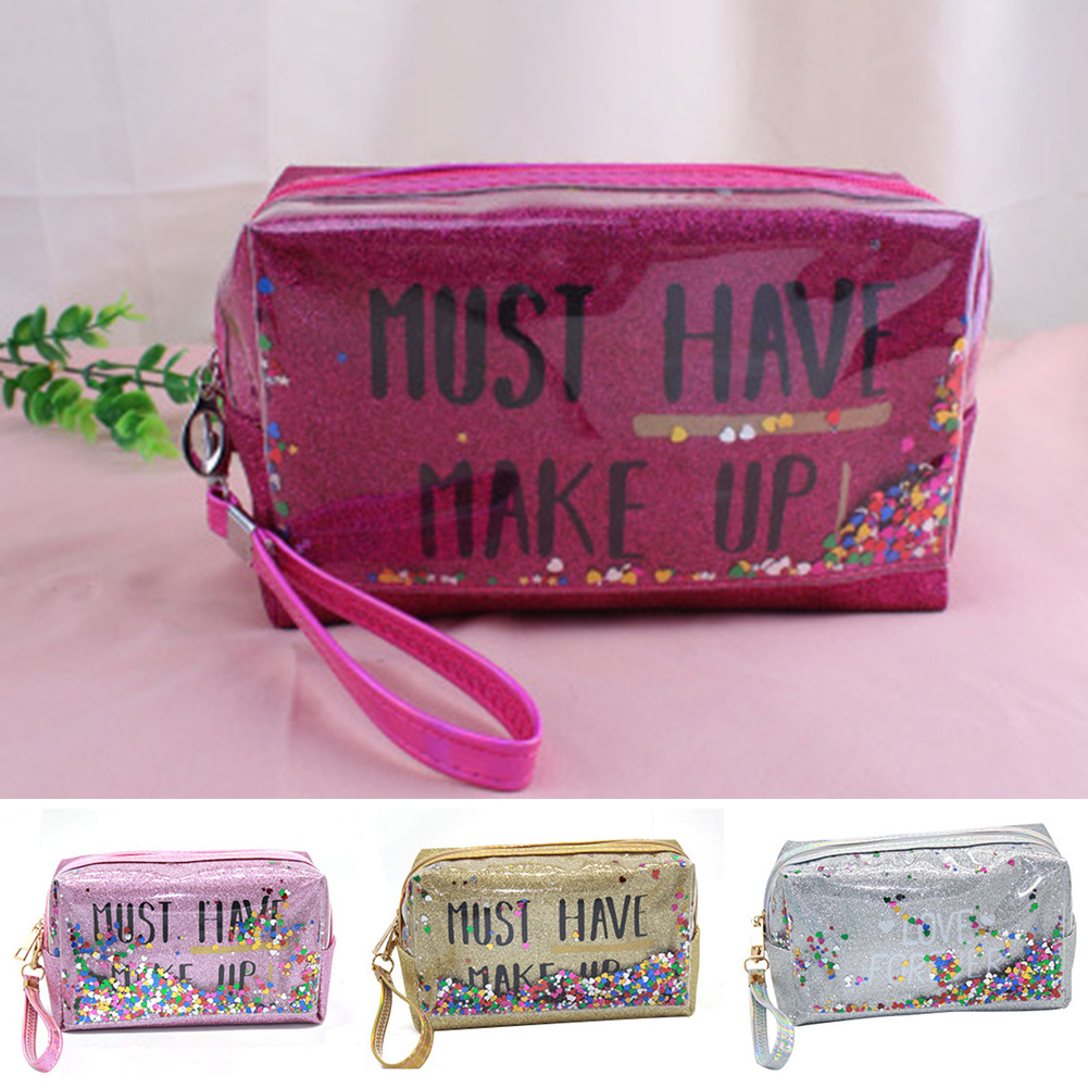 Cosmetic Bags Colorful Sequins Letter Print Waterproof PVC Makeup Bag Toiletry Organizer Pouch BS88