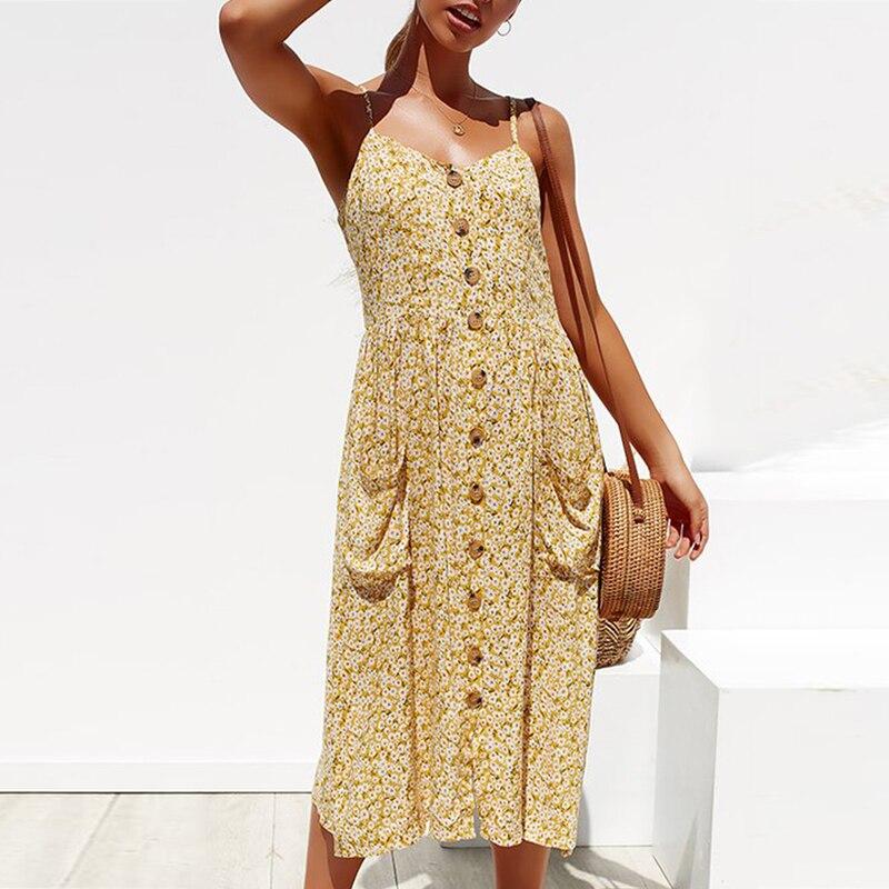 DeRuiLaDy 2020 Summer Women Dress Sexy Straps Boho Floral Tunic Beach Long Dress Womens Casual Sundress Pocket Dresses