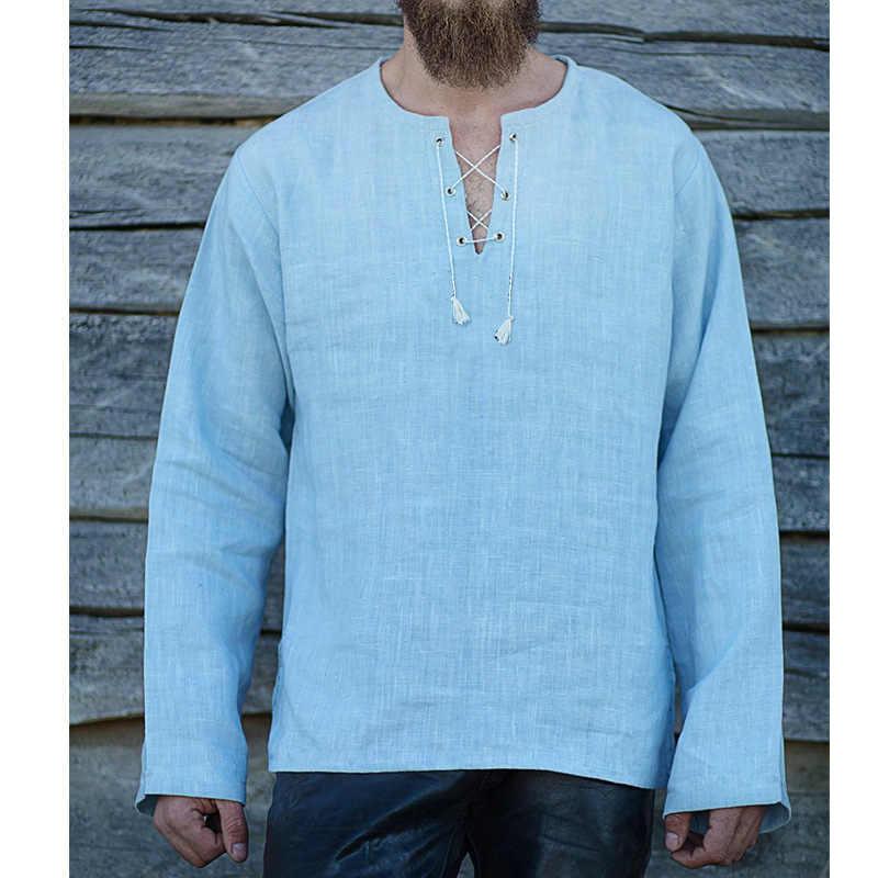 Men Viking Pirate Loose Blouse Full Sleeve T-shirt Medieval Cosplay Costumes Bandage Linen Tee Tops Ranger Knight Retro Clothing