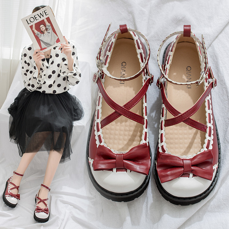 Spliced Color Lace <font><b>Shoes</b></font> <font><b>Lolita</b></font> Sweet Japanese Style <font><b>Red</b></font> Black Rubber Sole Stage Perform Lovely Temperament High Quality <font><b>Shoes</b></font> image