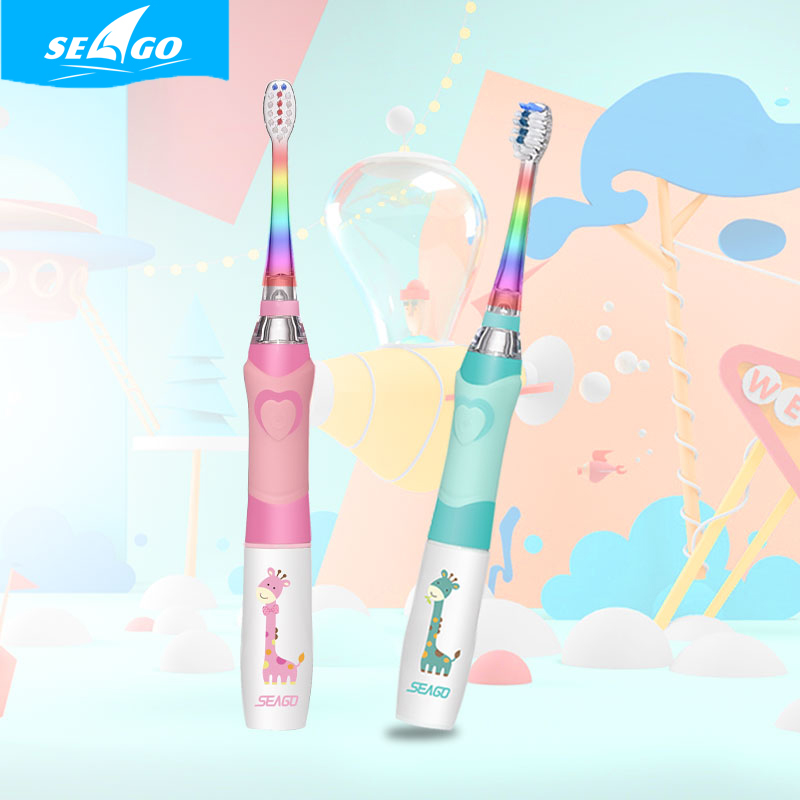 SEAGO Children Electric Toothbrush Waterproof LED Sonic Kids Toothbrush with Smart Timer image