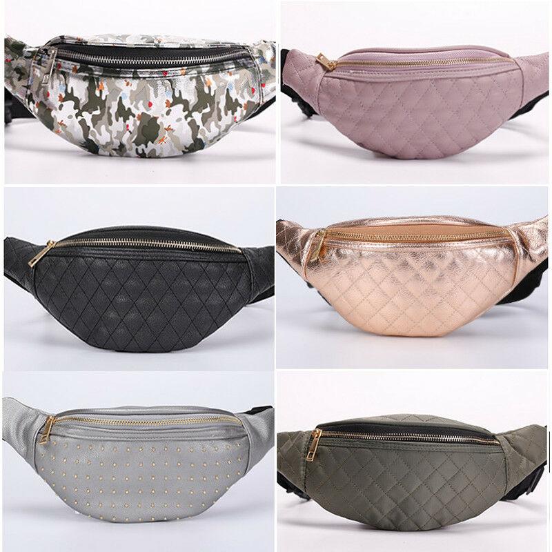 Womens Fanny Pack Shiny Leather Pouch Belt Waist Bum Bag Waist Phone Portable Shiny PU Leather Belt Waist Bum Bag Waist Phone