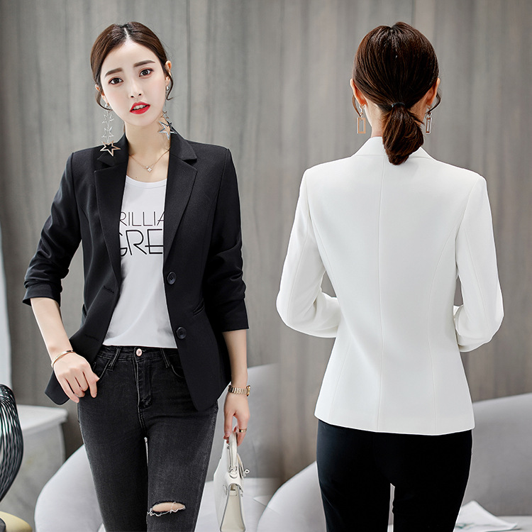 Samgpilee Ladies Blazer Long Sleeve Blaser Women Suit Jacket Female Feminine Blazer Femme Pink Blue White Black Blazer