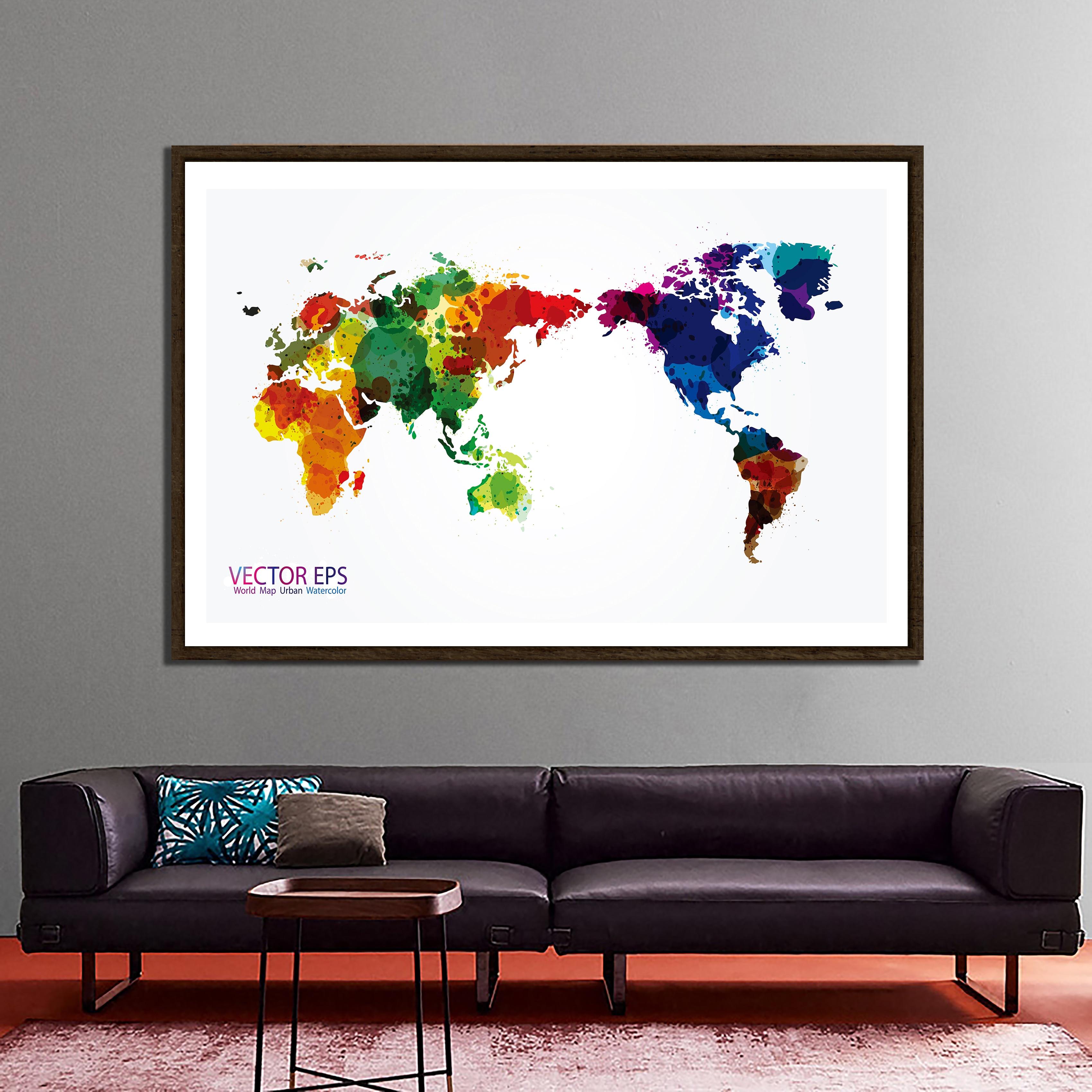 150x225cm VECTOR EPS World Map Urban Watercolor Home Office Wall Decor World Map Non-woven DIY World Map