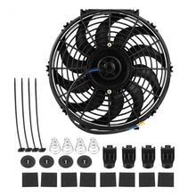 12 дюймов 12 В Универсальный Автомобильный тонкий толкатель Электрический вентилятор охлаждения двигателя с монтажным комплектом вентилятор радиатора аксессуары для автомобильного мотора