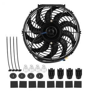 Image 1 - 12 Inch 12V Universele Auto Slanke Push Pull Elektrische Motor Koelventilator Met Montage Kit Radiator Fan Auto Motor accessoires