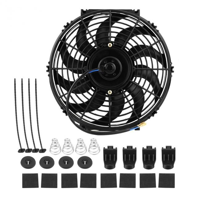 12 Inch 12V Universele Auto Slanke Push Pull Elektrische Motor Koelventilator Met Montage Kit Radiator Fan Auto Motor accessoires