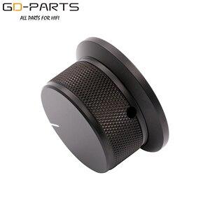 Image 3 - 50x25mm Bearbeitete Solide Voll Aluminium Volumen POTENTIOMETER KNOPF Sound Control Kappe 6mm Loch Audio DIY Schwarz silber Goldene 1PC