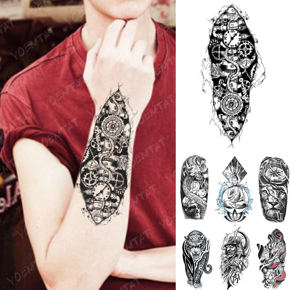 Waterproof Temporary Tattoo Sticker Mechanical Robot Gear Flash Tattoos 3D Bionic Electricity Body Art Arm Fake Tatoo Women Men