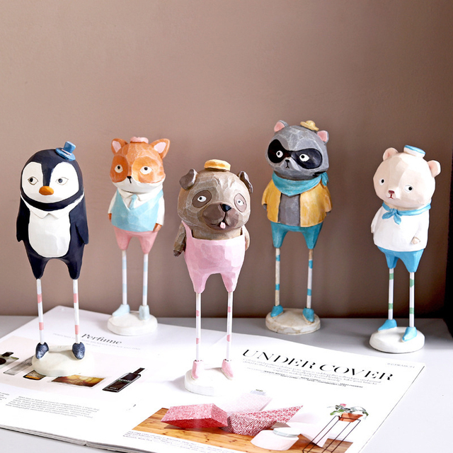 Creative  home decoration accessories cute resin animal figurine living room bedroom desk decoration home decor birthday gift 6