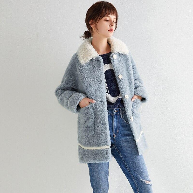 Autumn Winter Coat Women Clothes 2020 100% Wool Jacket Real Fur Coat Korean Sheep Shearling Suede Lining Abrigo Mujer ZT3635