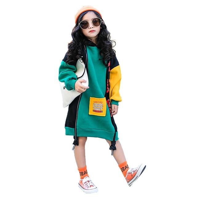 새로운 히트 컬러 코튼 겨울 따뜻한 스웨터 여자 플러스 벨벳 십대 소녀 후드 두꺼운 아이 티셔츠 어린이 의류