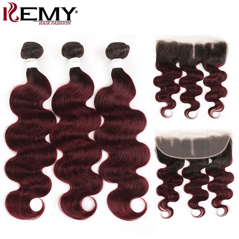 Brazilian Body Wave Hair Bundles With Frontal 13x4 KEMY HAIR T1B/99J Ombre Bundles With Closure 3 PCS Non Remy Hair Extension