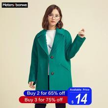 Metersbonwe утолщенное шерстяное пальто женское с длинным рукавом с отложным воротником Верхняя одежда Куртка повседневное зимнее элегантное пальто
