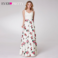 Elegant Floral Printed Prom Dresses Ever Pretty A Line V Neck Sleeveless Simple Casual Evening Party Gowns Vestidos Formales
