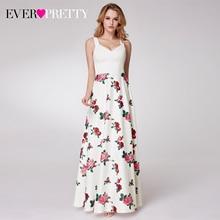 Elegant Floralพิมพ์Prom Dresses Pretty A Line V NeckสบายๆชุดราตรีชุดVestidos Formales