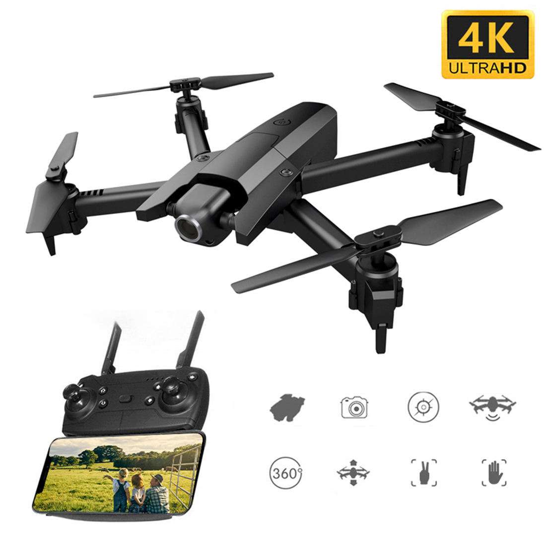<font><b>GW106</b></font> 4K HD Dual Camera RC Quadcopter Gesture Photo Video Optical Flow Altitude Hold Foldable Drone Educational Toy Gift - Black image