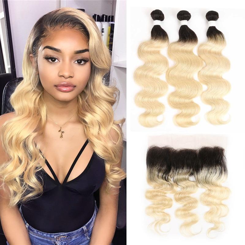 Ombre Blonde Bundles With Frontal KEMY HAIR Brazilian Body Wave Bundles With Closure Non-Remy Hair Weaves 3/4 PCS Hair Bundles