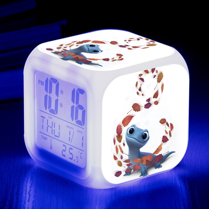 New Arrival Fire Lizard Princess Olaf Elsa Clock Alarm With LED Colorful Light Clock Kids Party Gift Princess Pvc Doll For Girls