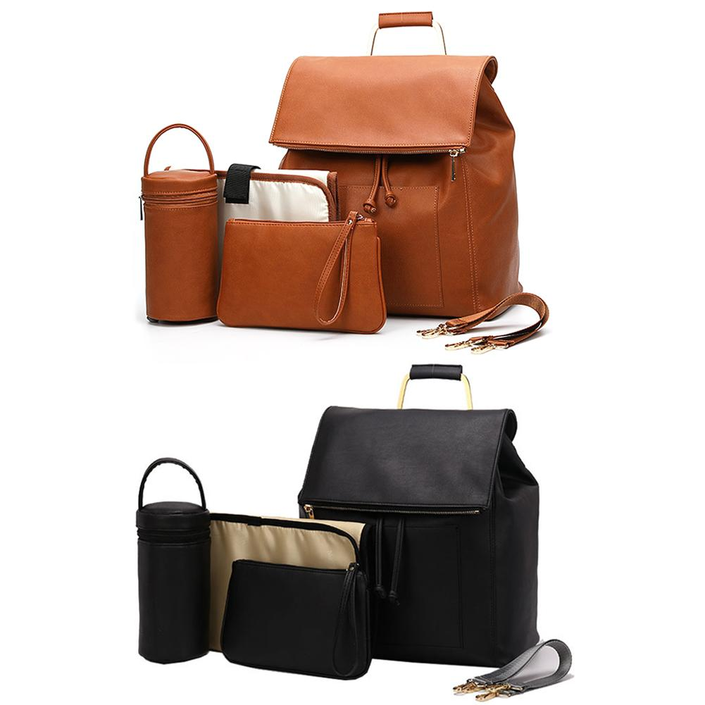 PU Leather Mummy Bag Package Diaper Bag Large Capacity With A Diaper Pad A Insulated Bag One Cosmetic Bag In Stock