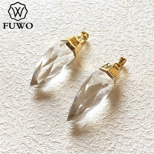 Image 3 - FUWO Carved Crystal Quartz Point Pendant 24k Gold Electroplated Natural Semi precious Stone Jewelry Accessories Wholesale PD136