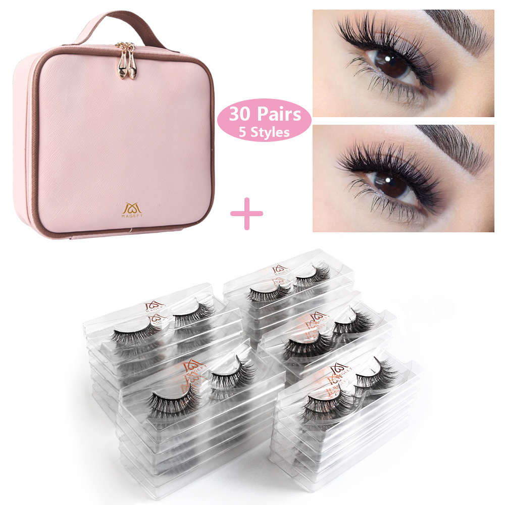 Wholesale 30/50 Pairs/lot Eyelashes 3d Mink Lashes Extension Natural Long False Eyelashes 1pcs Women Waterproof Make Up Bag Kit