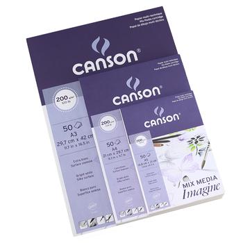 Canson MIX MEDIA wyobraź sobie papiery akwarelowe 200g m2 50 arkuszy A5 A4 A3 francja tanie i dobre opinie FR (pochodzenie) 200gsm 148x210mm 210x297mm 297x420mm