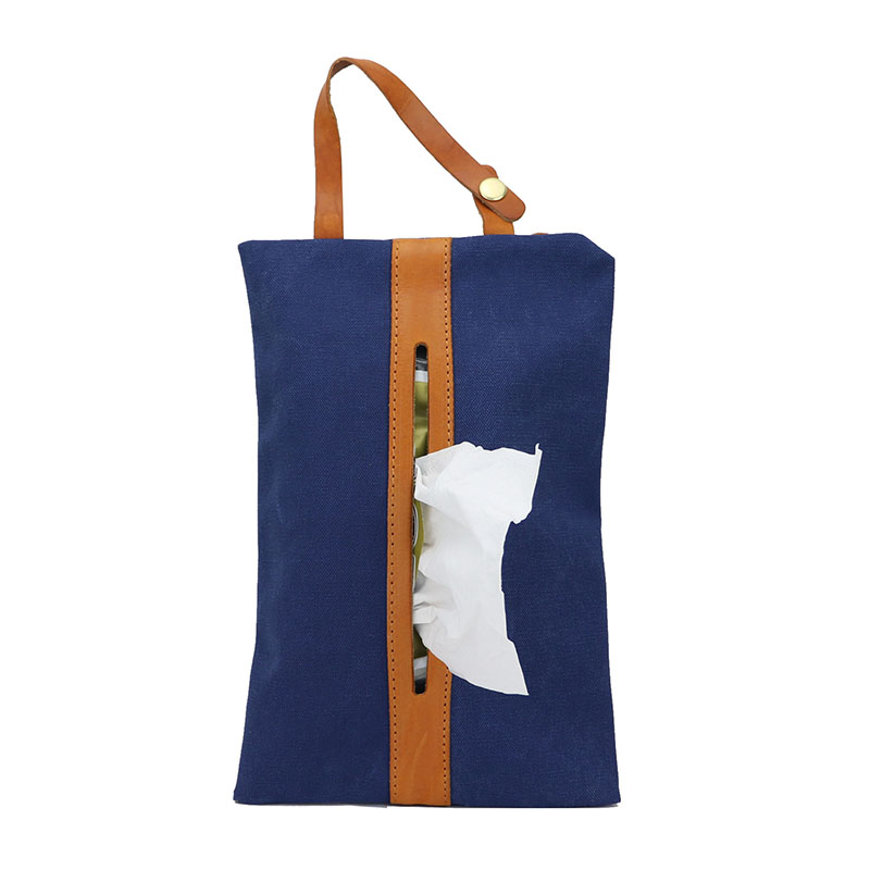 High Quality Genuine Vegetable Tanned Leather With Canvas Tissure Storage Bag Hanging Travelling Car Tissue Organizer Bag