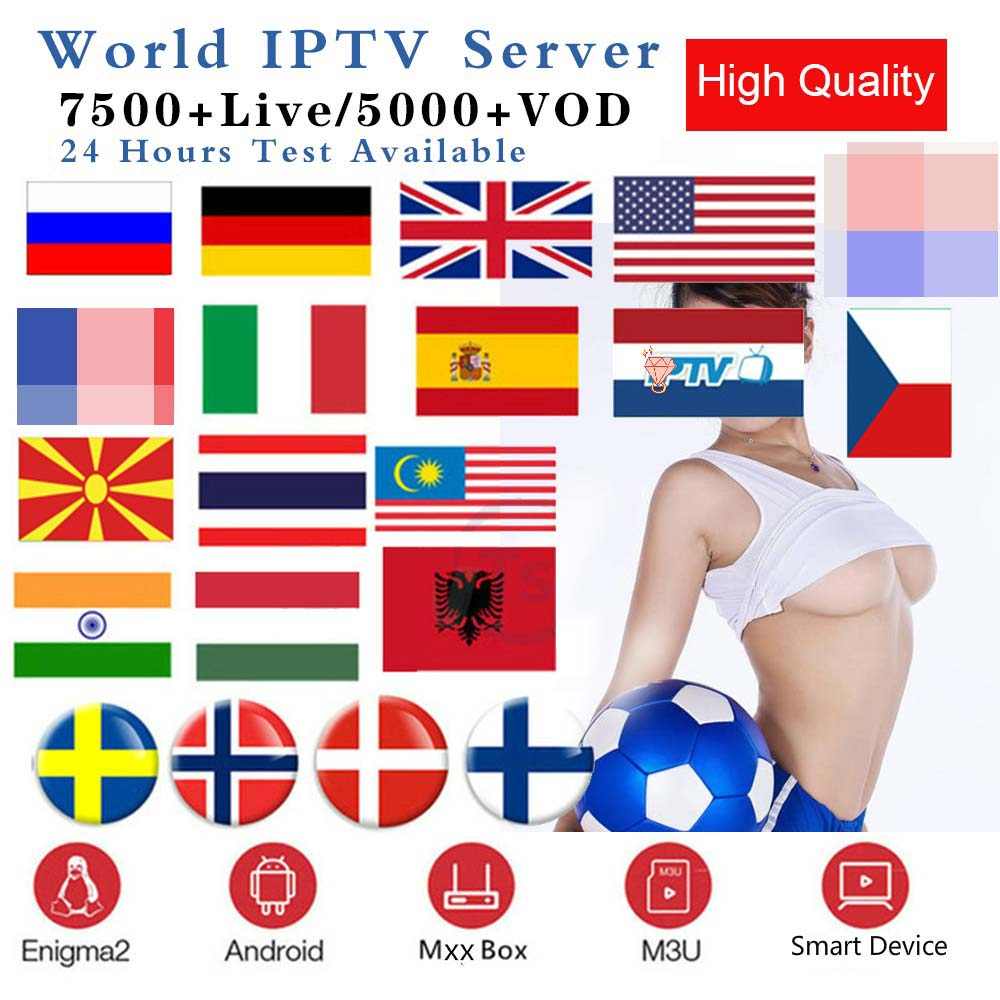 HD World 1 Year Subscription M3u IPTV  Portugal Spain Italy USA Brazil Dutch Xxx For Smart TV Android Box PC Windows VLC