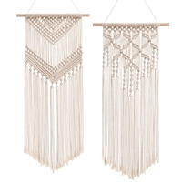 2 Pcs Macrame Wall Hanging Decor Woven Wall Art Macrame Tapestry Boho Chic Home Decoration for Apartment Bedroom Nursery Gallery