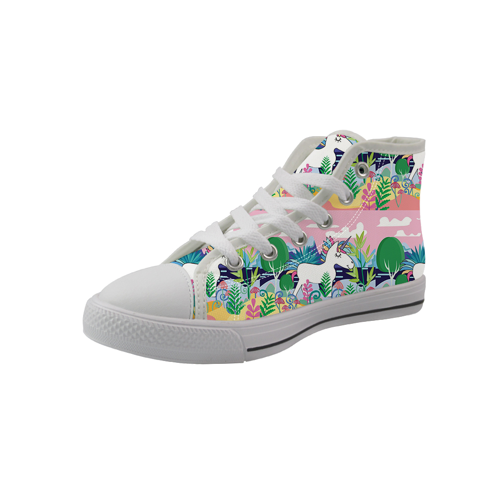 NOISYDESIGNS 2020 Spring Kdis High-top Canvas Shoes White Cute Horse Printed Children Sneakers Girls Walking Baby Tenis Infantil