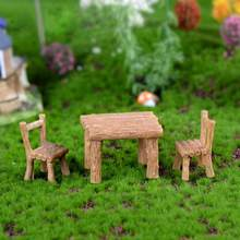 3Pcs/Set Resin Table Chairs Miniatures Doll Accessories Micro Landscape Decor Yard & Garden Decor(China)